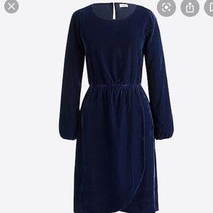 J. Crew Navy Blue Velvet Tulip Hem Dress